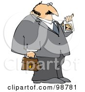 Royalty Free RF Clipart Illustration Of A Businessman Showing His Photo ID