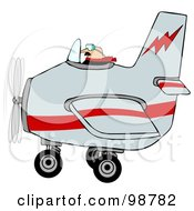 Royalty Free RF Clipart Illustration Of A Male Pilot Flying A Gray And Red Airplane by djart