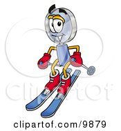 Clipart Picture Of A Magnifying Glass Mascot Cartoon Character Skiing Downhill by Toons4Biz