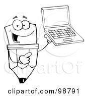 Royalty Free RF Clipart Illustration Of An Outlined Pencil Guy Holding A Laptop