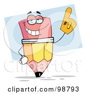 Royalty Free RF Clipart Illustration Of A Pencil Wearing A Number One Glove
