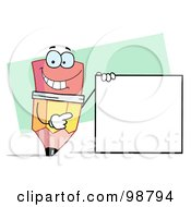 Royalty Free RF Clipart Illustration Of A Pencil Holding A Blank Sign
