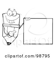 Royalty Free RF Clipart Illustration Of An Outlined Pencil Guy Holding A Blank Sign