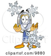 Clipart Picture Of A Magnifying Glass Mascot Cartoon Character With Three Snowflakes In Winter