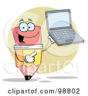 Royalty Free RF Clipart Illustration Of A Pencil Holding A Laptop