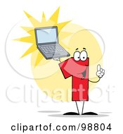Royalty Free RF Clipart Illustration Of A Number 1 Character Holding A Laptop