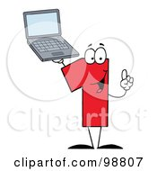 Royalty Free RF Clipart Illustration Of A Number One Character Holding A Laptop