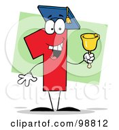 Royalty Free RF Clipart Illustration Of A Number 1 Character Wearing A Graduation Cap And Ringing A Bell