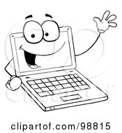 Royalty Free RF Clipart Illustration Of An Outlined Laptop Guy Waving And Smiling