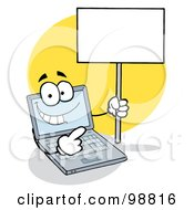 Royalty Free RF Clipart Illustration Of A Laptop Holding A Blank Sign