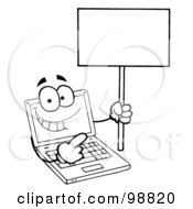 Royalty Free RF Clipart Illustration Of A Black And White Laptop Guy Holding A Blank Sign