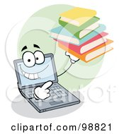 Royalty Free RF Clipart Illustration Of A Laptop Guy Holding Books