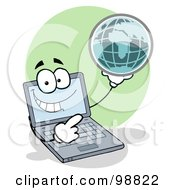 Royalty Free RF Clipart Illustration Of A Laptop Holding A Globe