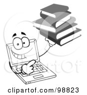 Royalty Free RF Clipart Illustration Of A Black And White Laptop Guy Holding A Stack Of Books