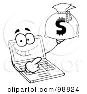 Royalty Free RF Clipart Illustration Of An Outlined Laptop Guy Holding A Money Bag