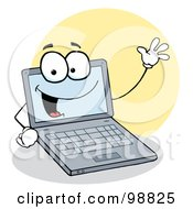 Royalty Free RF Clipart Illustration Of A Laptop Toon Waving And Smiling