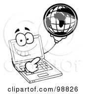 Royalty Free RF Clipart Illustration Of An Outlined Laptop Guy Holding A Globe