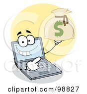 Royalty Free RF Clipart Illustration Of A Laptop Guy Holding A Money Sack