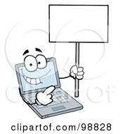 Royalty Free RF Clipart Illustration Of A Laptop Guy Holding A Blank Sign