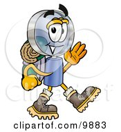 Magnifying Glass Mascot Cartoon Character Hiking And Carrying A Backpack