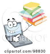 Royalty Free RF Clipart Illustration Of A Laptop Guy Holding A Stack Of Books