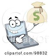 Laptop Guy Holding A Money Bag