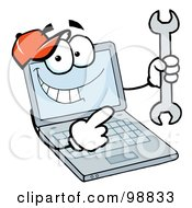 Royalty Free RF Clipart Illustration Of A Laptop Guy Holding A Wrench by Hit Toon #COLLC98833-0037