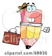 Pencil Guy Businessman Carrying A Briefcase by Hit Toon