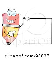 Royalty Free RF Clipart Illustration Of A Pencil Guy Holding A Blank Sign by Hit Toon