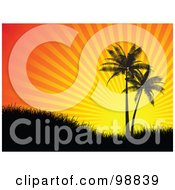 Royalty Free RF Clipart Illustration Of Two Palm Trees And Grass Silhouetted Against A Tropical Orange Sunset