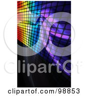 Royalty Free RF Clipart Illustration Of A Background Of Rainbow Fractals And Grid On Black