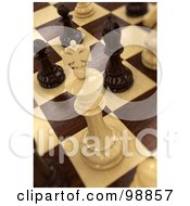 Royalty Free RF Clipart Illustration Of A 3d White Wooden Chess King On Board by stockillustrations