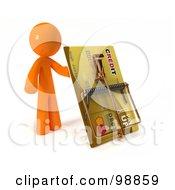 3d Orange Man Holding Up A Credit Card Trap