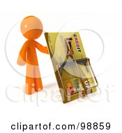 Royalty Free RF Clipart Illustration Of A 3d Orange Man Holding Up A Credit Card Trap by Leo Blanchette