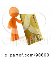 3d Orange Man Holding Up A Gold Credit Card