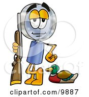 Magnifying Glass Mascot Cartoon Character Duck Hunting Standing With A Rifle And Duck