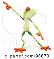 Royalty Free RF Clipart Illustration Of A 3d Argie Frog Facing Front And Dancing