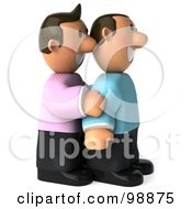 Royalty Free RF Clipart Illustration Of A 3d Happy Gay Couple Standing Together And Facing Right by Julos