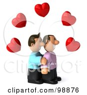 Royalty Free RF Clipart Illustration Of A 3d Happy Gay Couple Facing Right Under Hearts by Julos