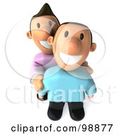 Royalty Free RF Clipart Illustration Of A 3d Happy Gay Couple Smiling Upwards by Julos