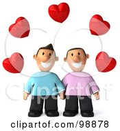 3d Happy Gay Couple Holding Hands Under Hearts
