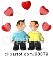 Royalty Free RF Clipart Illustration Of A 3d Happy Gay Couple Holding Hands And Gazing Under Hearts by Julos