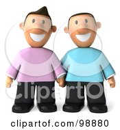 3d Happy Gay Couple Holding Hands And Facing Front