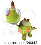 Royalty Free RF Clipart Illustration Of A 3d Spotted Dino Character Looking Outwards by Julos