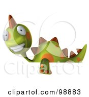 Royalty Free RF Clipart Illustration Of A 3d Spotted Dino Character Smiling Over A Blank Sign
