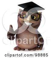 Royalty Free RF Clipart Illustration Of A 3d Owl Professor Holding A Thumb Up