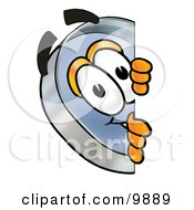 Clipart Picture Of A Magnifying Glass Mascot Cartoon Character Peeking Around A Corner by Toons4Biz