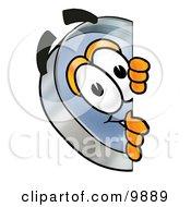 Magnifying Glass Mascot Cartoon Character Peeking Around A Corner