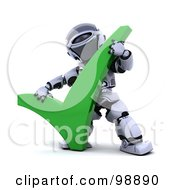 Royalty Free RF Clipart Illustration Of A 3d Silver Robot Holding A Tick Mark by KJ Pargeter