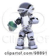 Royalty Free RF Clipart Illustration Of A 3d Silver Robot Holding A File
